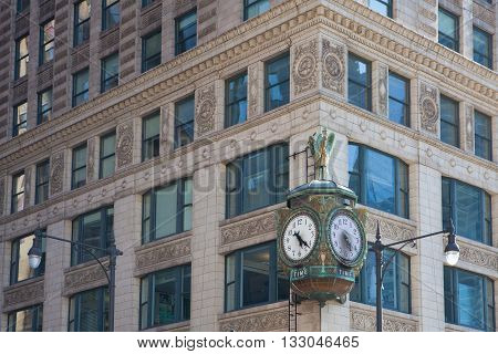 Iconic Father Time clock the 1926 decorative Jewelers' Building clock in Chicago is emblazoned with the word Time and decorated with a statue of old Father Time carrying a menacing scythe.