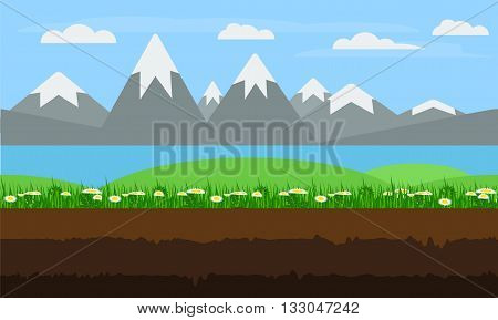 Seamless cartoon nature landscape unending endless continuous looping background with soil green grass floweres blossoms lake mountains and cloudy sky layers. Flat game background vector.