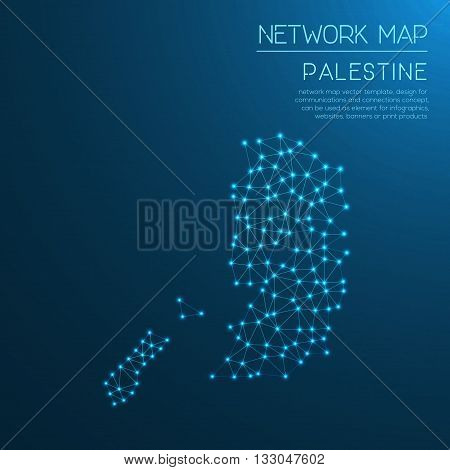 Palestine Network Map. Abstract Polygonal Map Design. Internet Connections Vector Illustration.