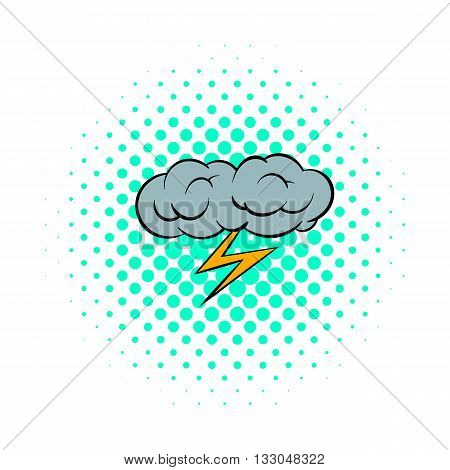 Grey cloud and lightning icon in comics style on a white background