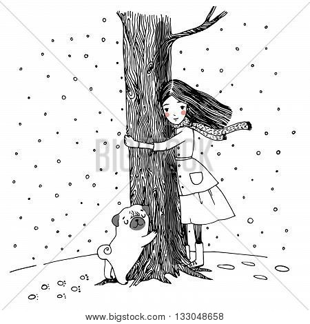Beautiful young girl and a cute pug. Hand drawing vector illustration on a white background.