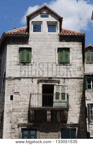 Old building in Split - the largest of the Dalmatian cities in Croatia and one of the oldest in the area. It has the examples of Romanesque Gothic Renaissance and Baroque architecture