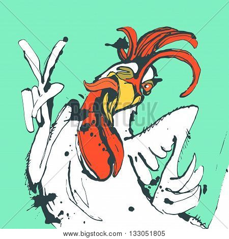 Vector illustration Funny hand drawn cock showing victory sign and winking.Cock, rooster sketch, cock drawing, cock design, cock vector, cartoon cock, cock sketch, cock art, cock line, cock graphic, cock illustration