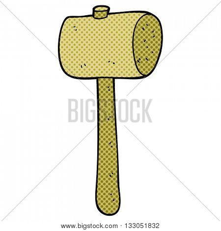 freehand drawn cartoon wooden mallet