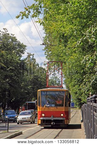Yekaterinburg Russia - July 20 2015: driver is driving tramway in Yekaterinburg Russia