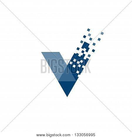letter V data tech logo concept, right logo,v sign