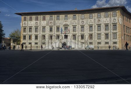Pisa Italy - October 22 2015: The Knights Square and the Scuola Normale of Pisa