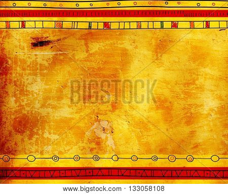 Grunge background with texture of old stucco and ethnicity patterns
