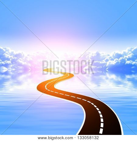 Nature background with white clouds in blue sky, tranquil water surface and road. 3d render