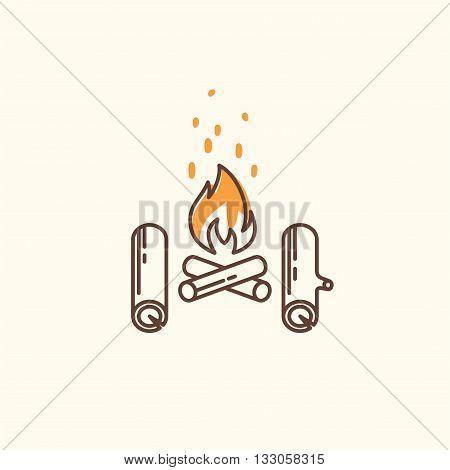 Campfire line icon. Campfire icon vector. Campfire icon web. Campfire icon logo. Campfire icon sign. Campfire icon design.