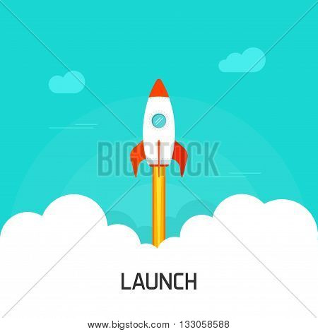 Rocket launch vector illustration, flat cartoon rocket launching, concept of business project start-up