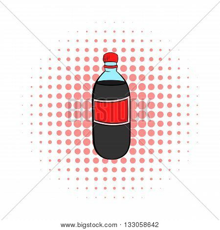 Plastic bottle with a red label icon in comics style on a white background