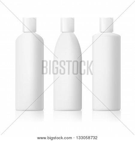 set of cosmetic products on a white background. Cosmetic package collection for cream, soups, foams, shampoo eps10 vector