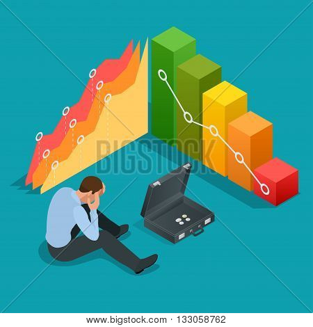 Bad businessman. Not successful businessman. Depressed Businessman Leaning His Head Below a Bad Stock Market Chart. Flat 3d vector isometric illustration