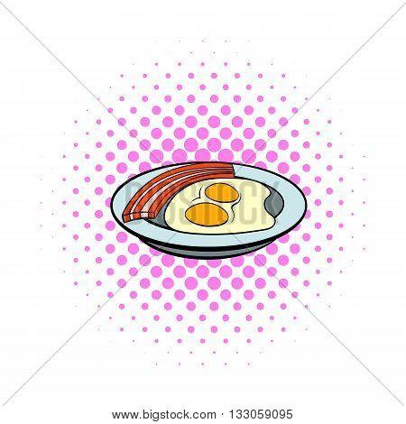 Fried eggs and sausages icon in comics style on a white background