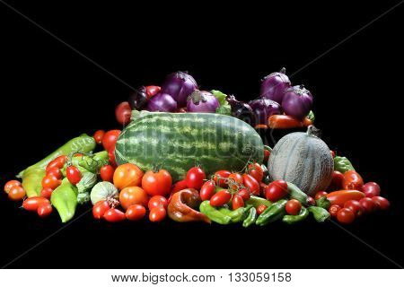 set of vegetables: watermelon, eggplant, zucchini, tomatoes, cucumbers, onions, peppers