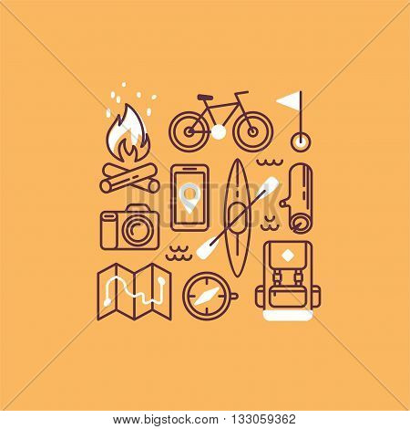 Set of camping and hiking equipment. Travel and vacation collection. Hike icons. Vector illustration.
