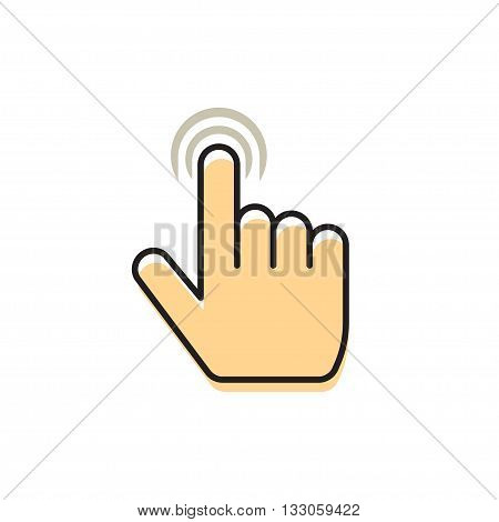 Hand index finger with abstract waves vector icon, concept of multi touch mobile phone technology, touch gesture, pointer finger flat simple design outline thin line illustration isolated on white