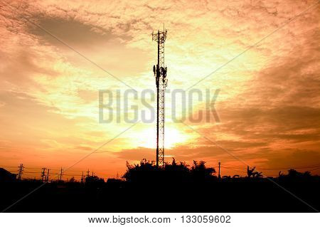 The Communication tower and sunlight in evening