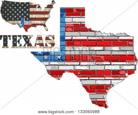 USA state of Texas on a brick wall - Illustration, The flag of the state of Texas on brick textured background,  Font with the United States flag,  Texas map on a brick wall