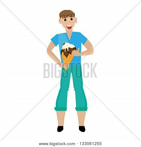 Vector illustration of a man with ice cream. Flat design style.
