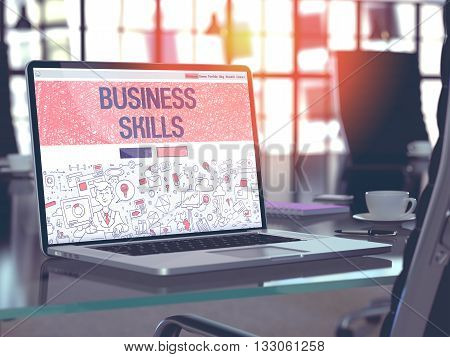 Business Skills Concept Closeup on Landing Page of Laptop Screen in Modern Office Workplace. Toned Image with Selective Focus. 3D Render.