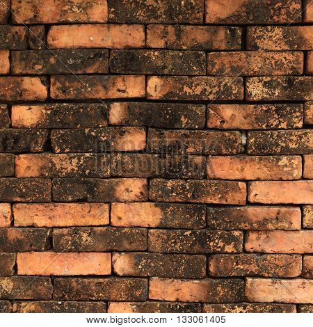 The old vintage brick wall brown background