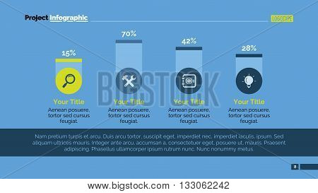 Editable template of presentation slide representing creative bar chart with four columns, icons and percent marks