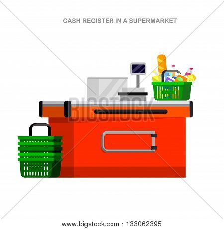 Concept illustration for Shop, supermarket. Vector character cashier in supermarket. Healthy eating and eco food in supermarket. Vector cash register in a supermarket