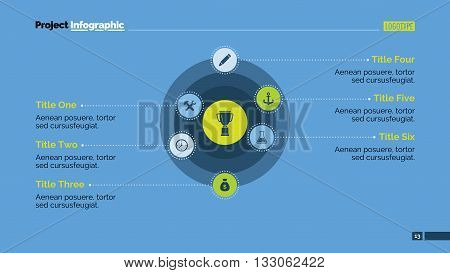 Editable presentation slide template of diagram with six concentric circles with icons, sample text, titles, multicolored version