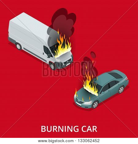 Burning car on the road. Fire suddenly started engulfing the car. Flat 3d vector isometric illustration