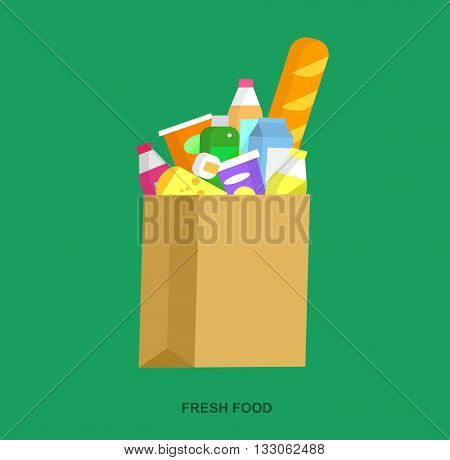 Concept illustration for Shop, supermarket. Vector package with meal. Healthy eating and eco food in supermarket cart. Vector flat illustration for supermarket.