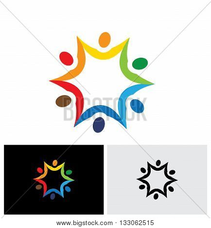 Colorful Abstract Vector Logo Icon Of People Connected Together.
