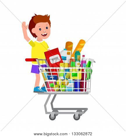 Concept illustration for Shop, supermarket. Vector character kid boy playing, riding supermarket shopping cart. Healthy eating and eco food in supermarket shopping cart