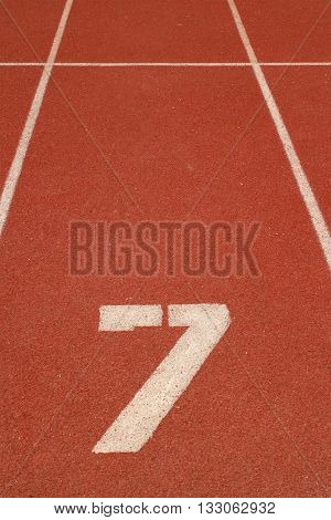 The number 7 on a running track
