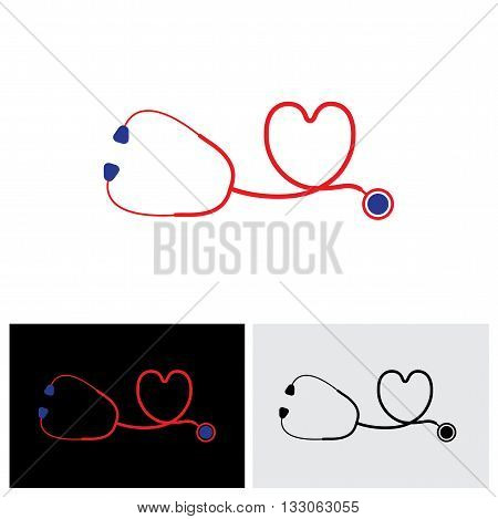 Vector Icon Of Medical Diagnostic Tool - Stethoscope And Heart Symbol