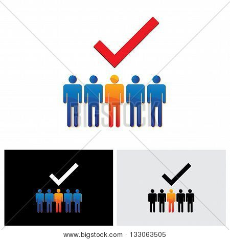 Vector Graphic - Selecting Or Hiring Right Employee, Worker, Candidate.