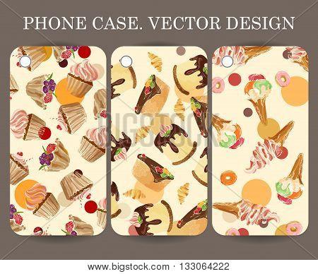 Food design phone case caver. Decorative hand drawn dessert backgrounds for your gadget