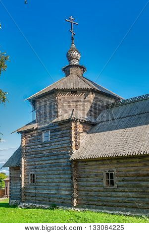 Suzdal, Russia - August 29, 2009: Museum of wooden architecture. Church of Resurrection from Patakino village
