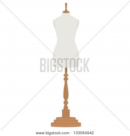 Vector illustration vintage female tailor's mannequin. Fashion mannequin. Sewing mannequin