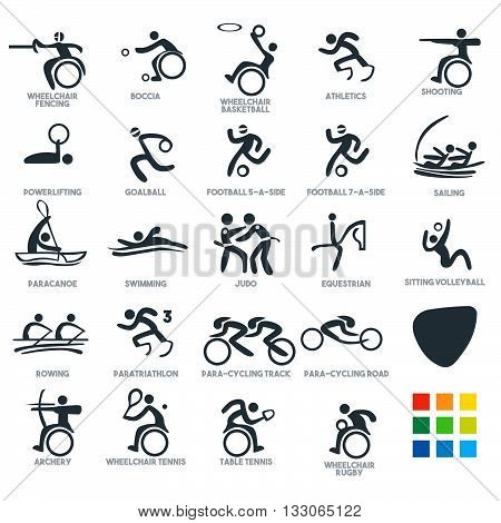 games, athlete, Championship, International, Competition, sporting, Summer Games Sport Icon Pictograms. Flat concept design Set stick figure vector illustration