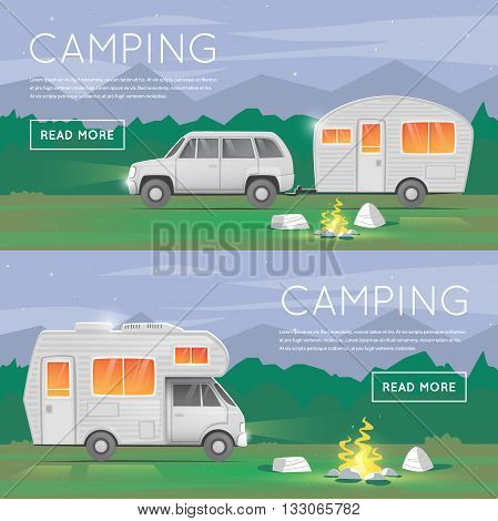Hiking and outdoor forest camping. Camper trailer family. Summer campers trailers. Tourist campers. Summer landscape. Summer adventure. Summer night landscape. Flat design vector illustration.