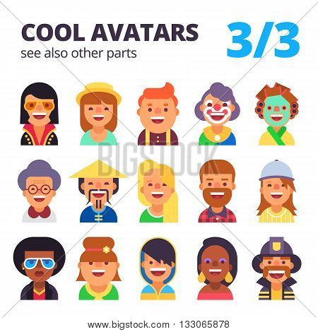 Set of cool avatars. Different skin tones, clothes and hair styles. Modern and simple flat cartoon style. Part 3 of 3. See also other parts.
