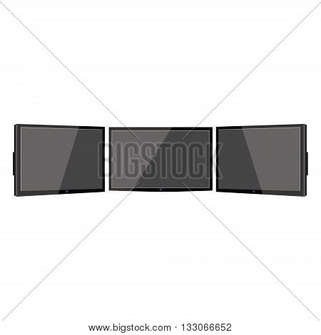 Vector illustration three wide black monitors. Triple tv. Flat television screens