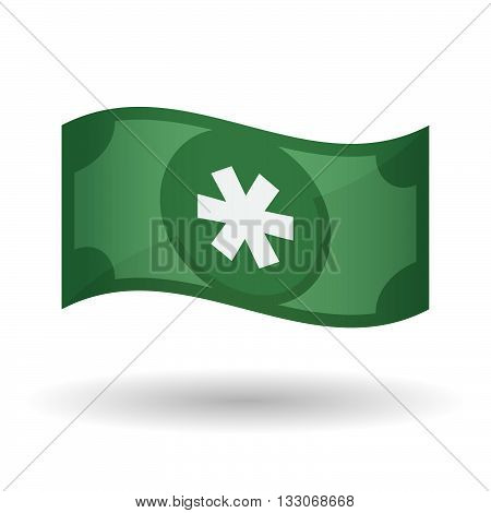 Illustration Of A Waving Bank Note With An Asterisk