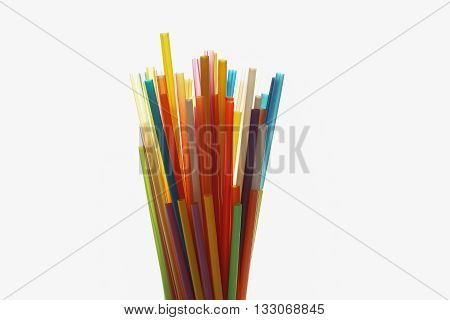 Multi Color flexible straws on white background