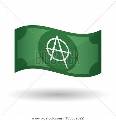 Illustration Of A Waving Bank Note With An Anarchy Sign
