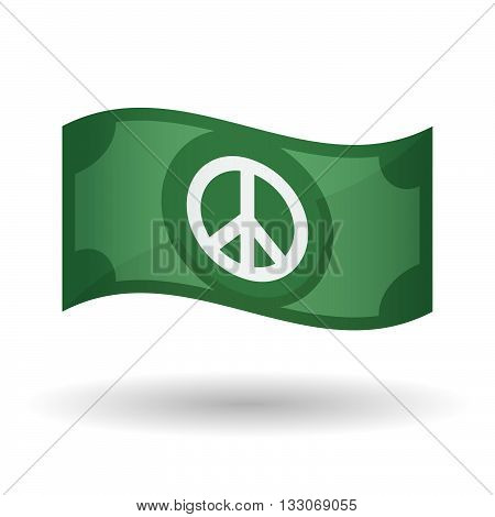 Illustration Of A Waving Bank Note With A Peace Sign