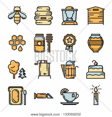 Apiary icon set. Set of thin line bee and honey icons