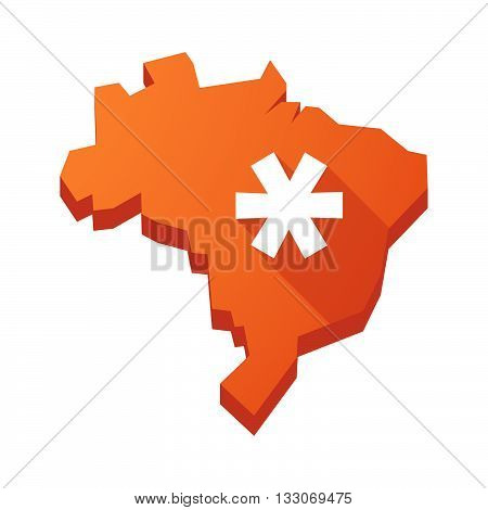 Illustration Of An Isolated Brazil Map With An Asterisk